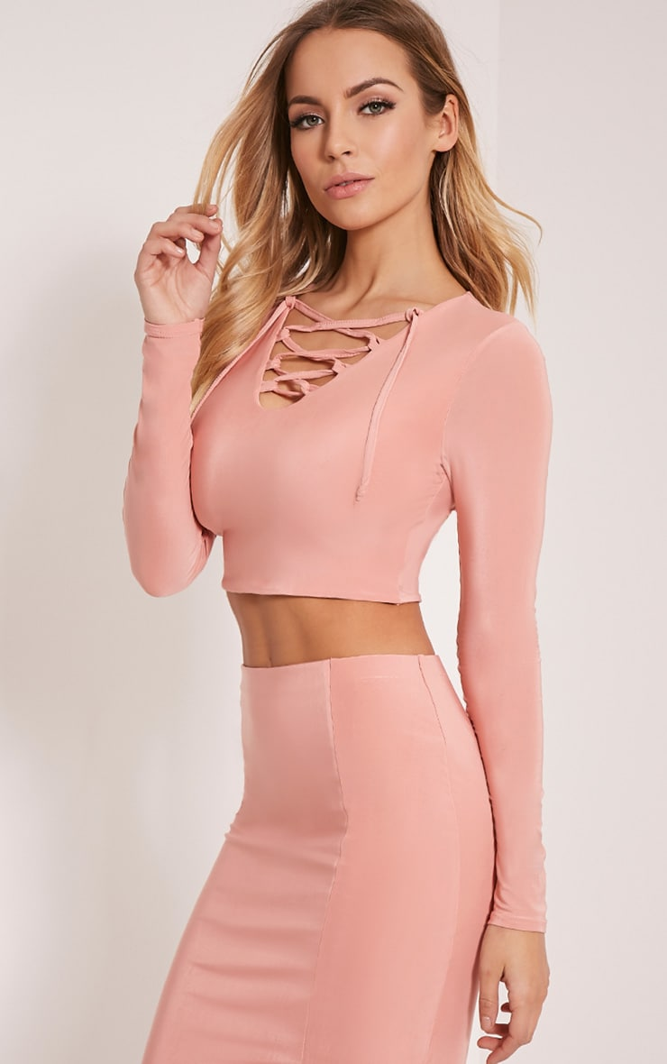 Ameria Blush Lace Up Front Crop Top 4