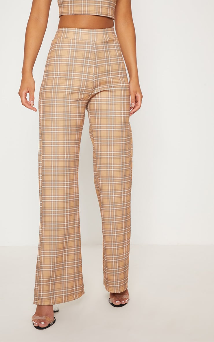 Camel Check High Waisted Wide Leg Trousers 3