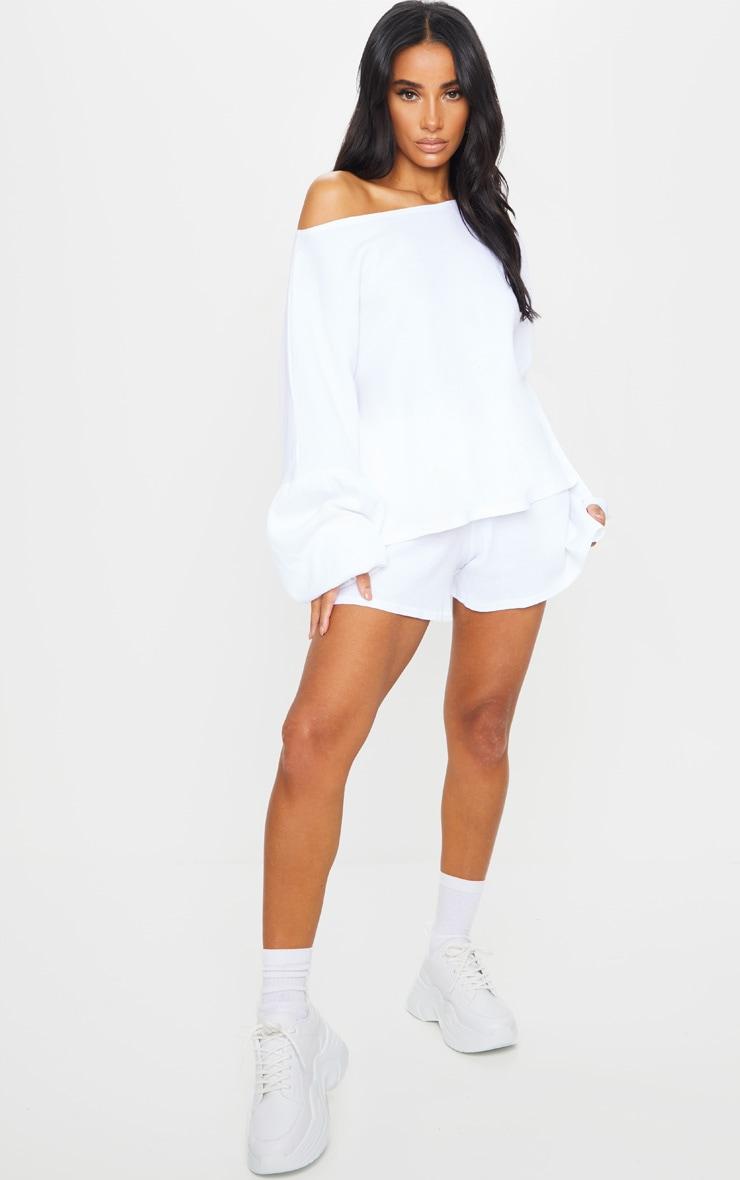 White Waffle Knit Shorts 4