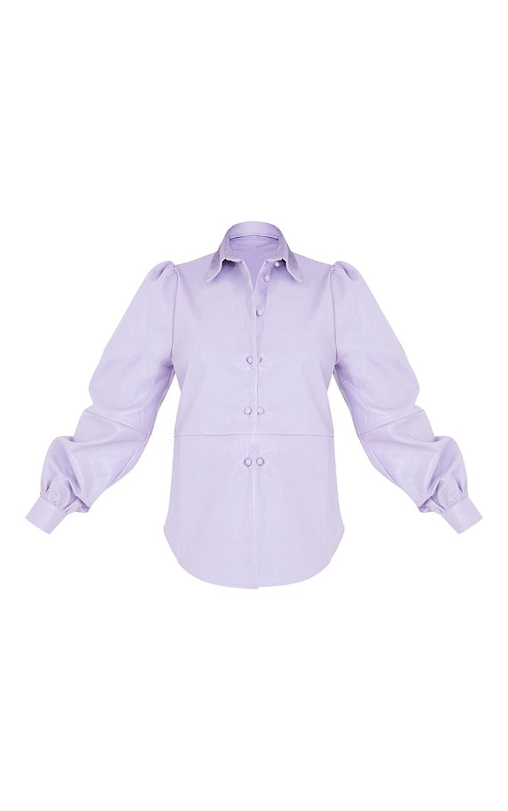Petite Lilac Oversized Balloon Sleeve PU Shirt 5