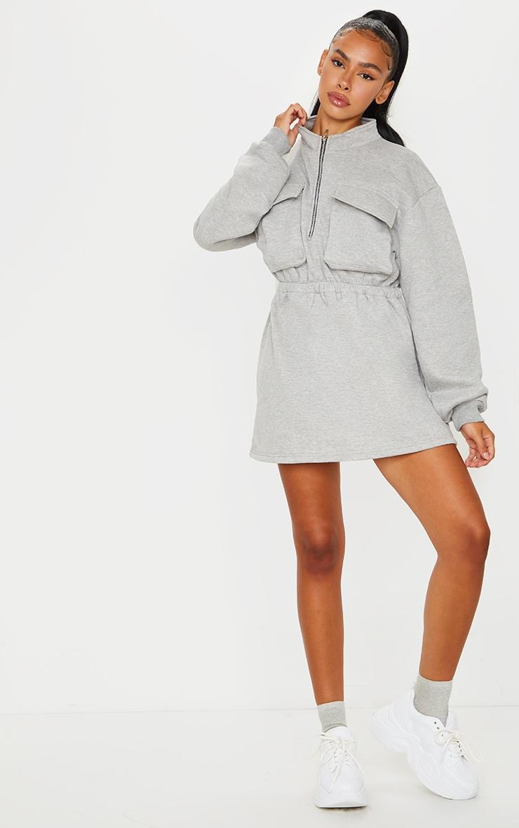 Grey Pocket Detail Elasticated Waist Sweater Dress 1