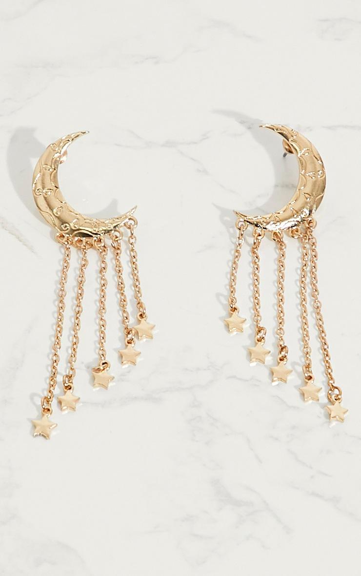 Gold Moon Star Tassel Earrings 4