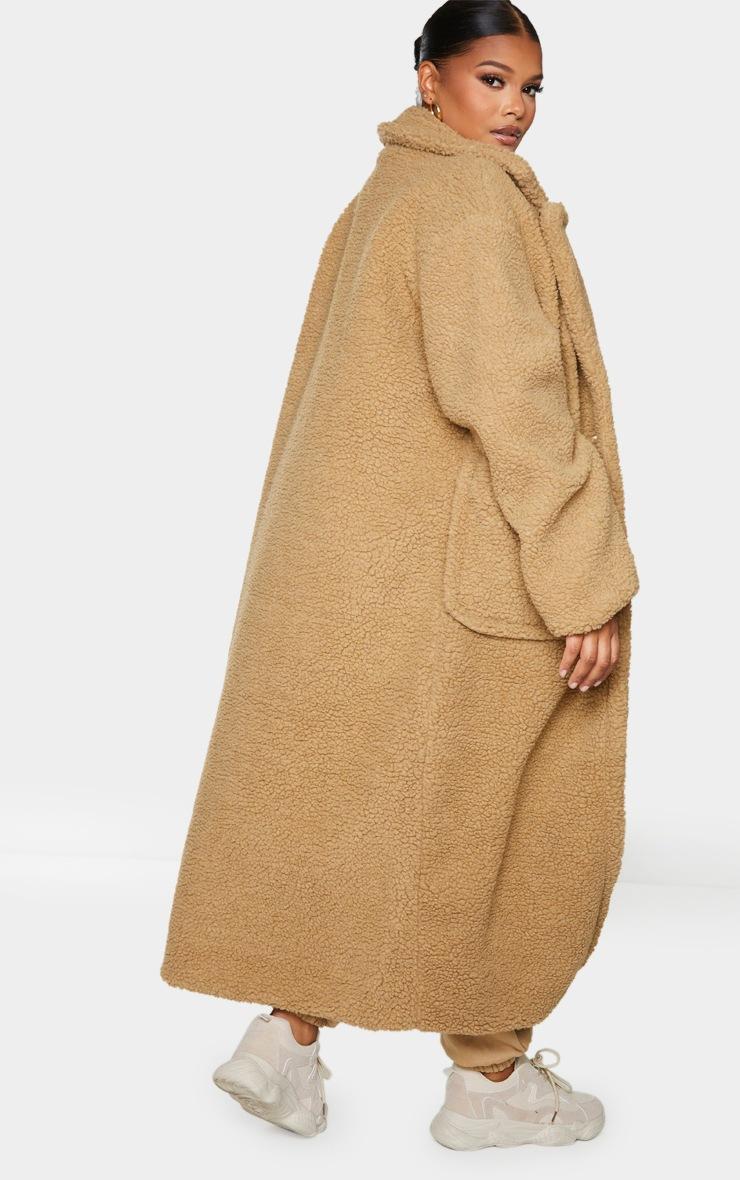 Plus Camel Borg Longline Coat 2