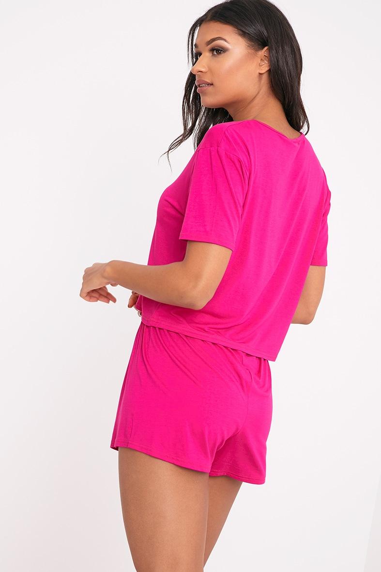 Basic Hot Pink Short Pj Set 2