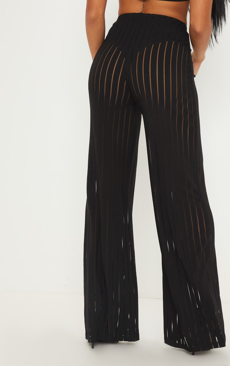Petite Black Burn Out Mesh Wide Leg Trouser 4