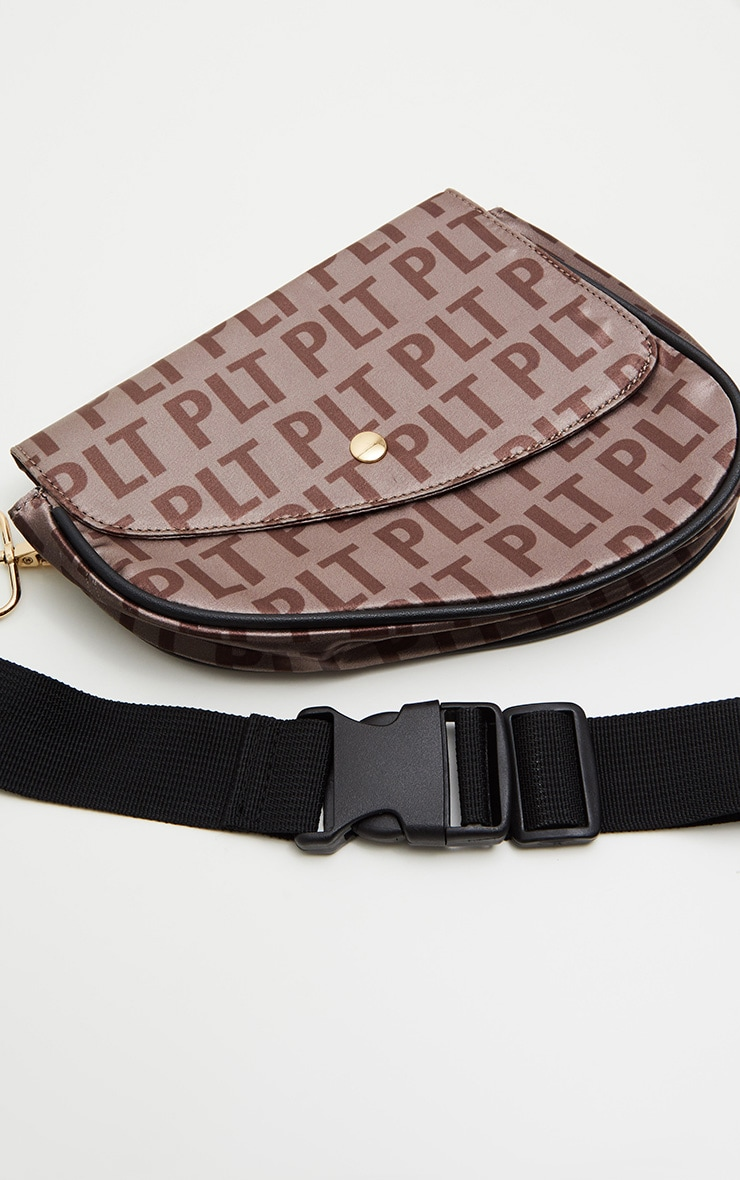 PRETTYLITTLETHING Brown Logo Asymetric Fanny Pack 3