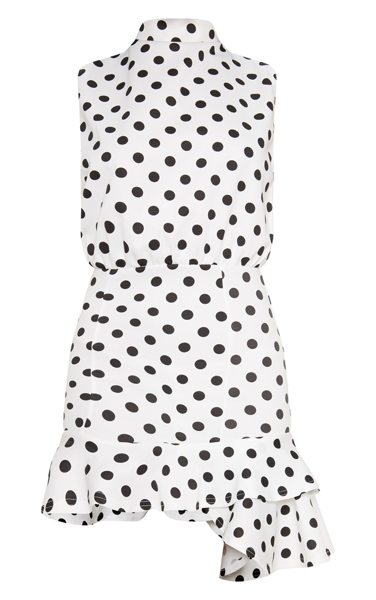 White Polka Dot High Neck Frill Hem Bodycon Dress 3