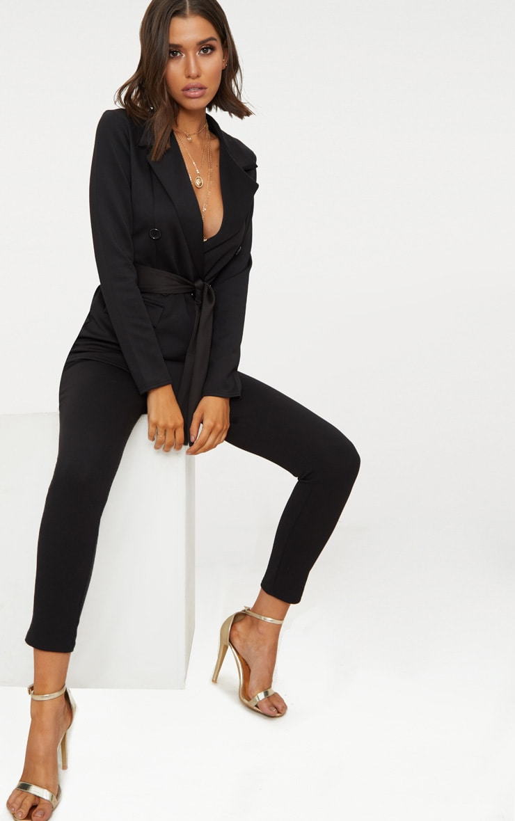 Black Double Breasted Belted Blazer 2