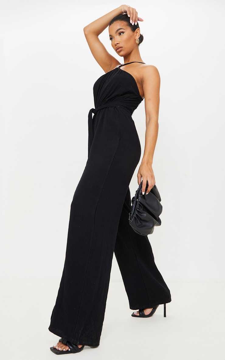 Black Linen Look Strappy Tie Waist Jumpsuit 3