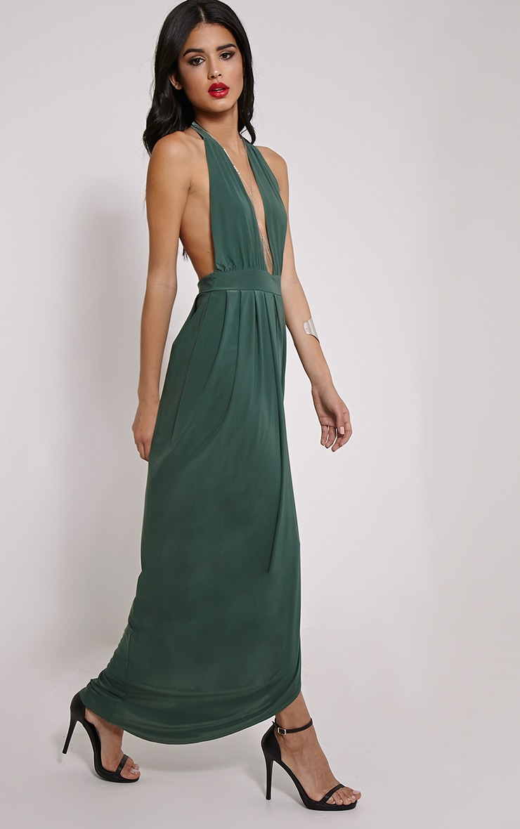 Biba Forest Green Halterneck Maxi Dress 3