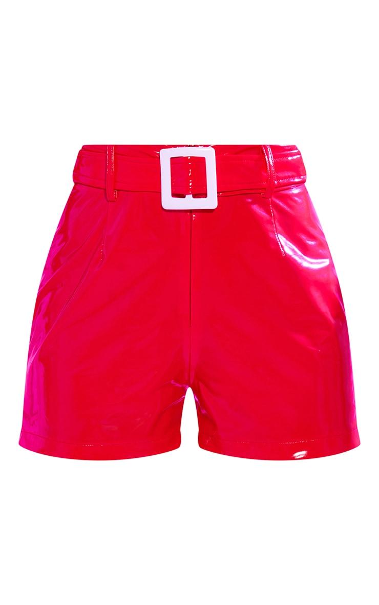 Red Vinyl Belted Waist Shorts 6