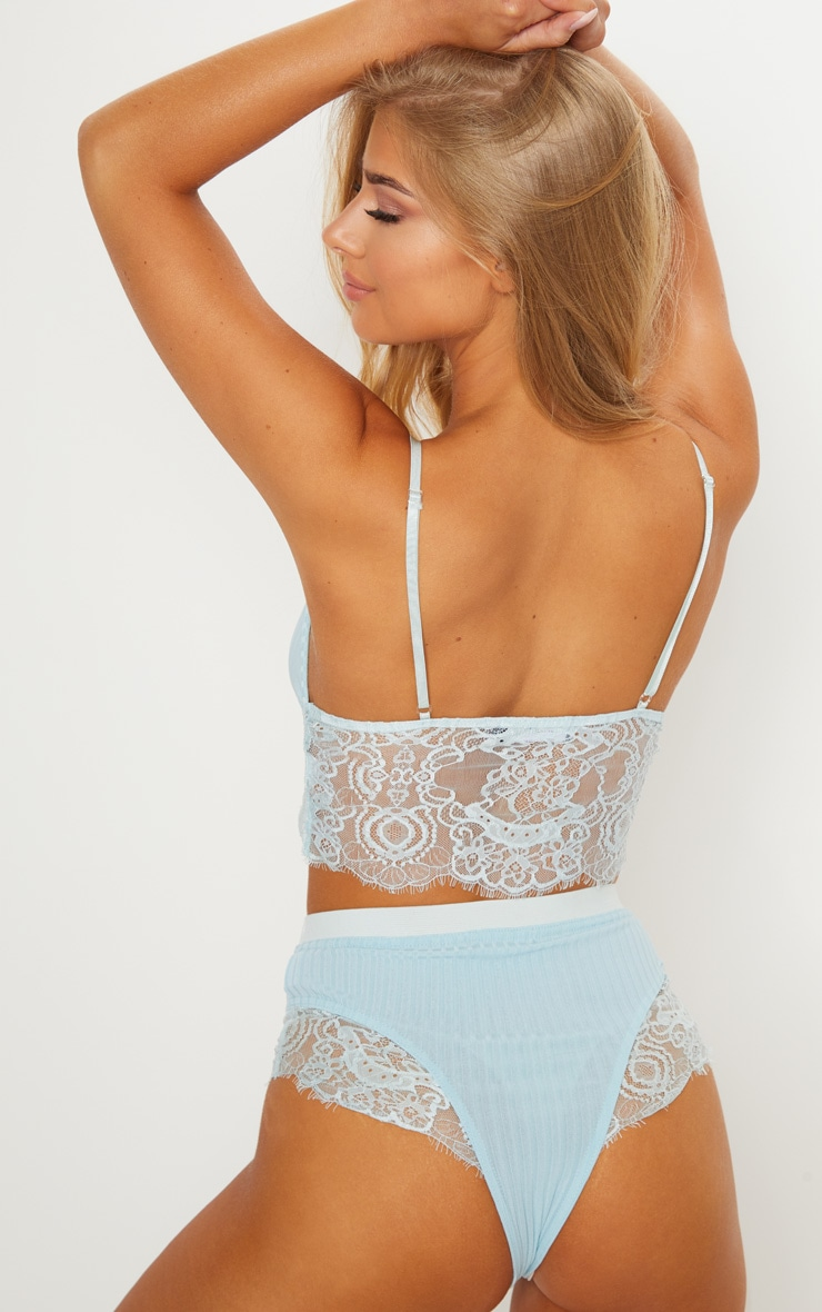 Baby Blue Ribbed & Lace Mix Bra 2