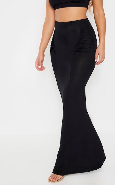 Black Jersey Ruched Seam Midaxi Skirt
