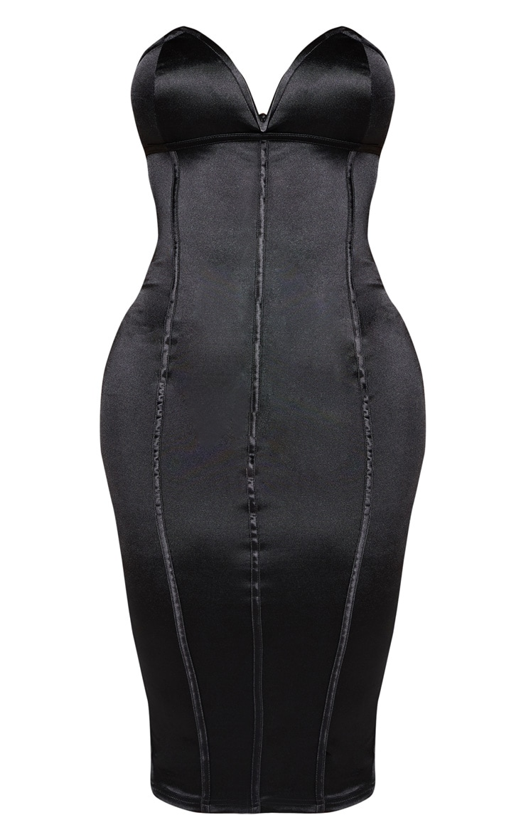Shape Black Sweetheart Binding Detail Midi Dress 3