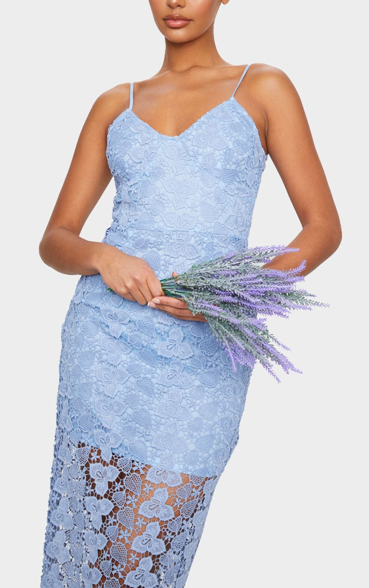 Dusty Blue Thick Lace Strappy Maxi Dress 4