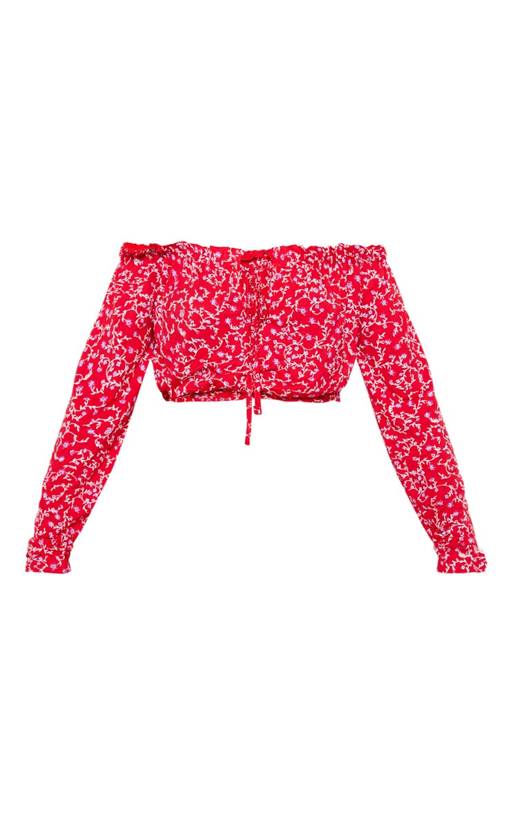 Red Ditsy Floral Printed Jersey Bardot Key Hole Crop Top 3