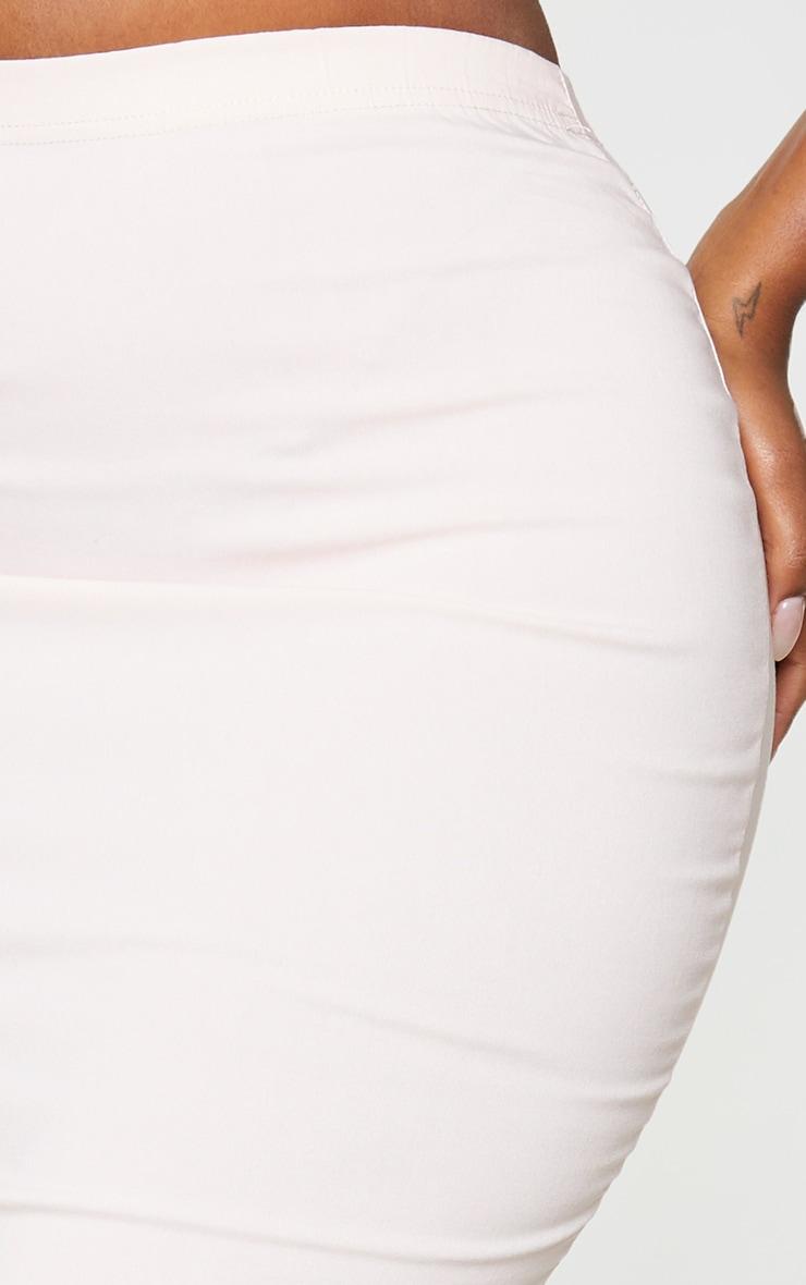 Shape - Jupe moulante stretchy mi-longue rose cendré à détails coutures 4