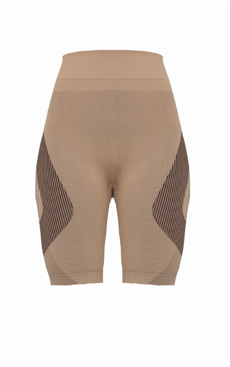Taupe Seamless Colour Block Marl Cycle Shorts 6