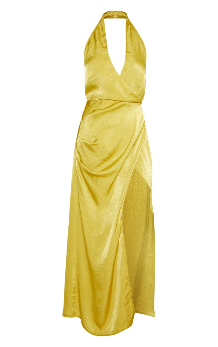 Light Lime Hammered Satin Halterneck Maxi Dress 3