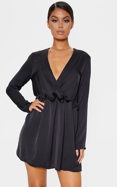 Black Hammered Satin Ruched Waist Shift Dress