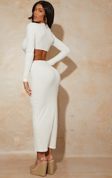White Ribbed Long Sleeve Ring Cut Out Detail Midaxi Dress 2