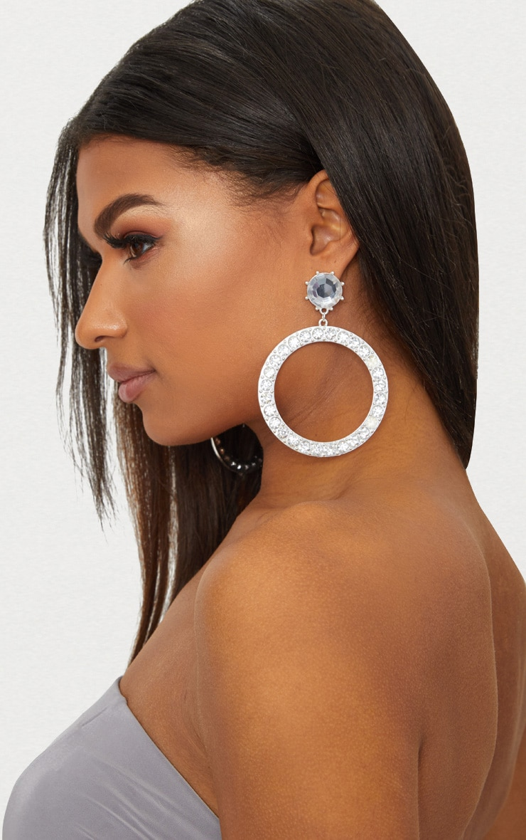 Silver Large Diamante Stud Hoop Earrings 2