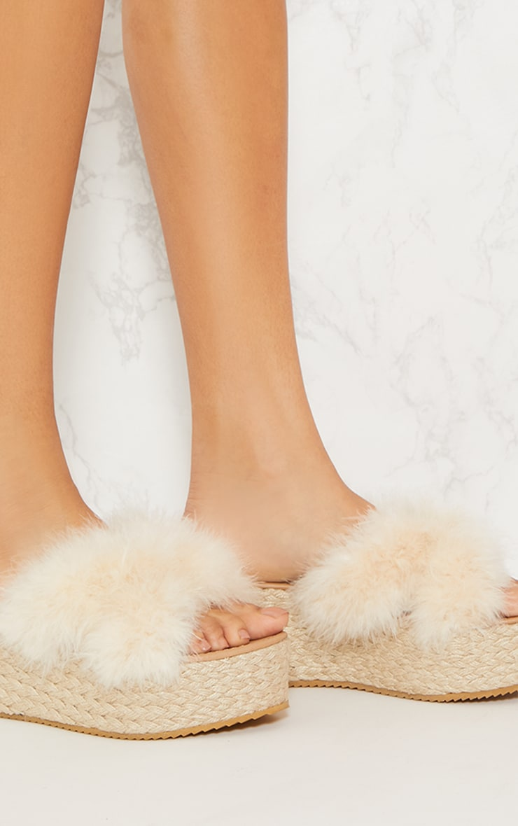 Nude Espadrille Feather Wedge 5