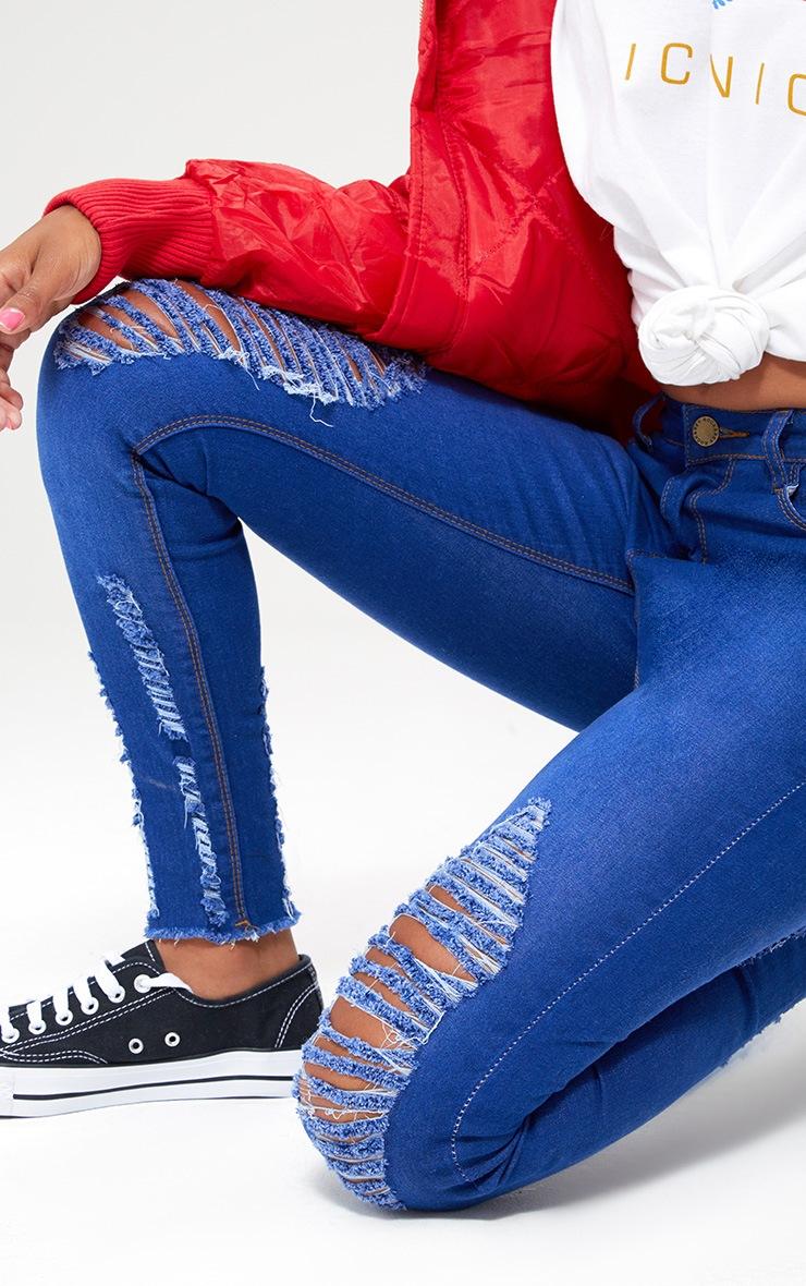 Petite Bright Blue Distressed Skinny Jeans 5