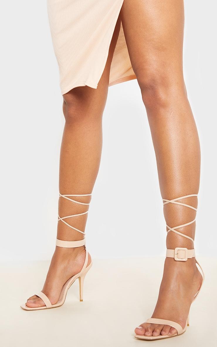 Sandales hautes carrées nude à imprimé croco et boucle cheville 1