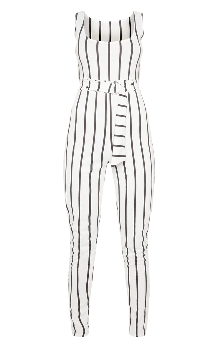 White  Stripe Belted Jumpsuit 3