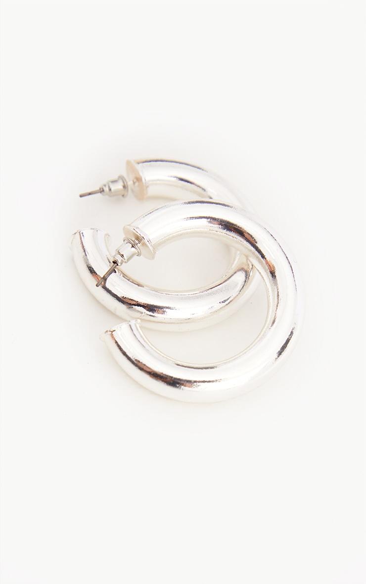 Silver Chunky Tubular Earrings 4
