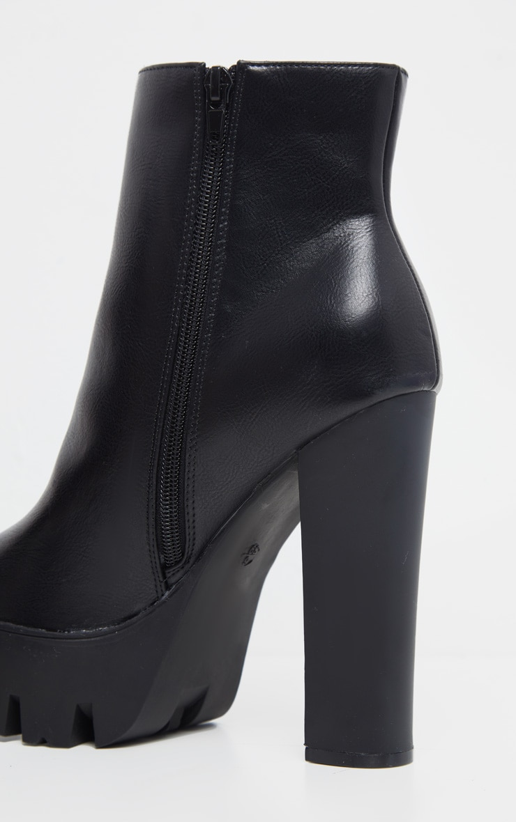 Black Platform Zip Ankle Boot 4