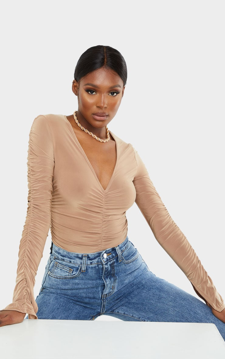 Tall Camel Slinky Split Cuff Ruched Blouse 1