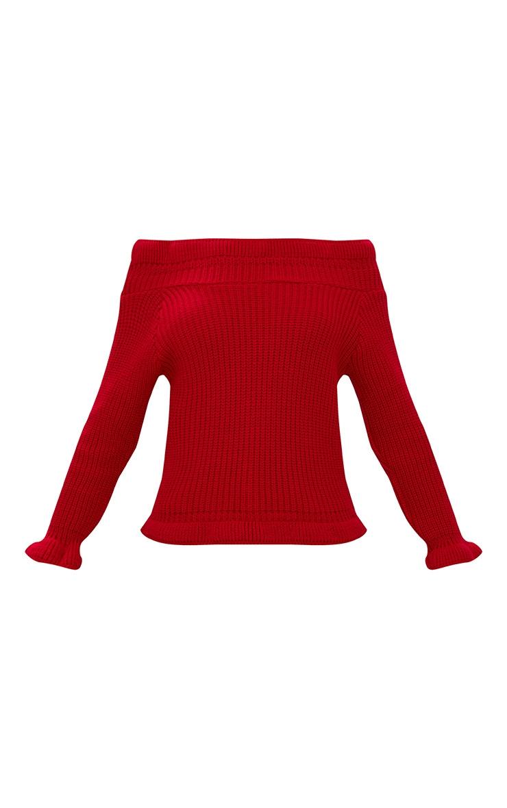 Red Frill Bardot Jumper 3