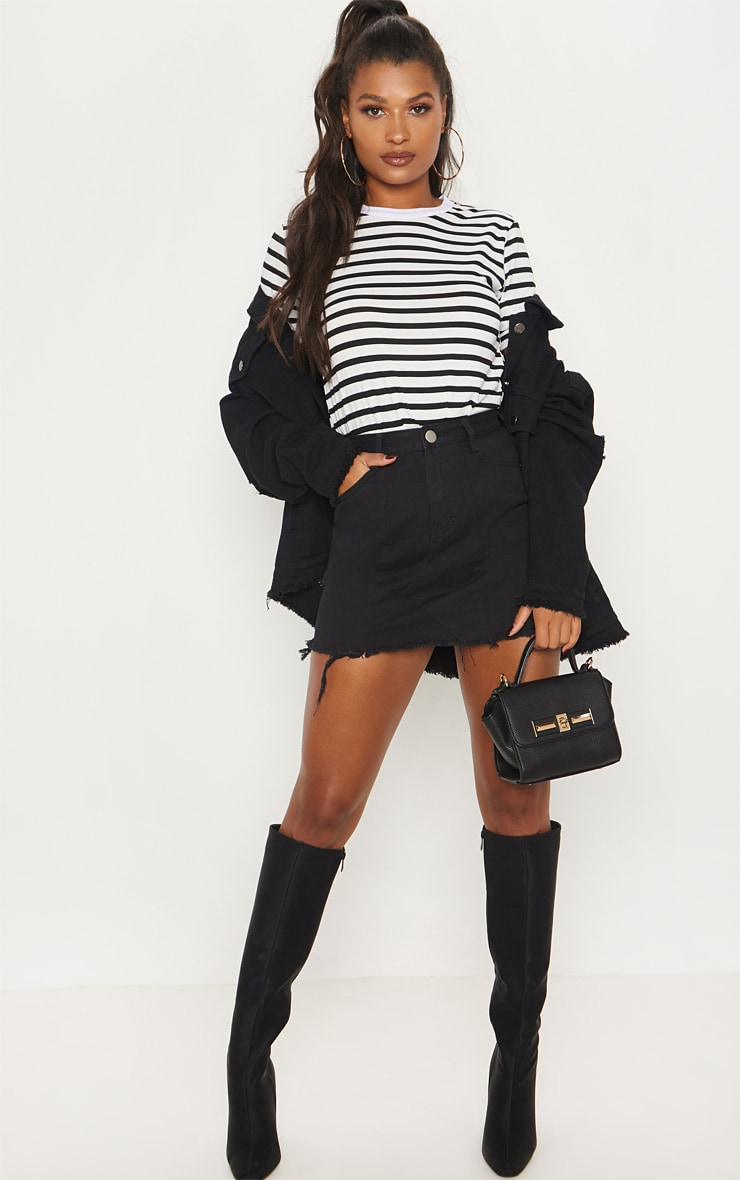 Black Basic Denim Skirt  1
