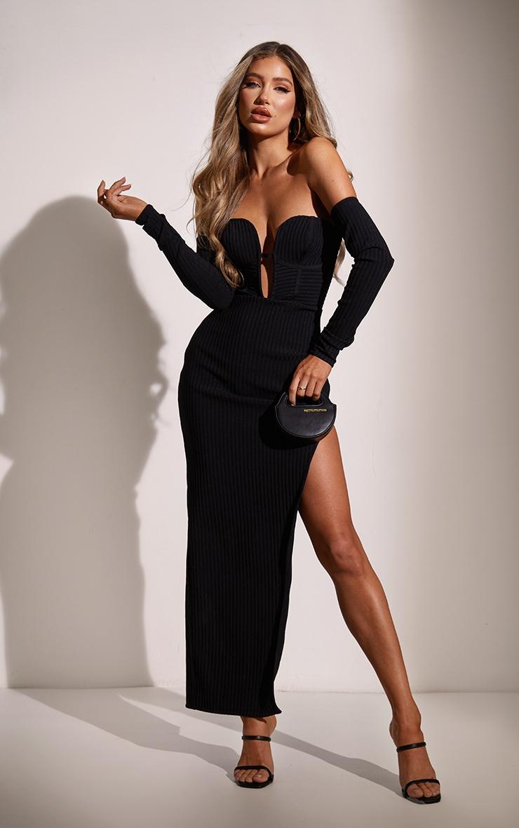 Black Bandage Ribbed Bardot Plunge Midaxi Dress 3