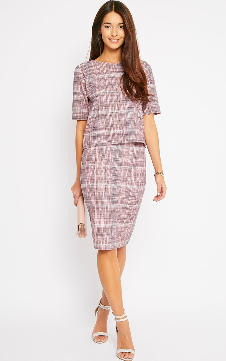 Cleo Coral Checked Top  3