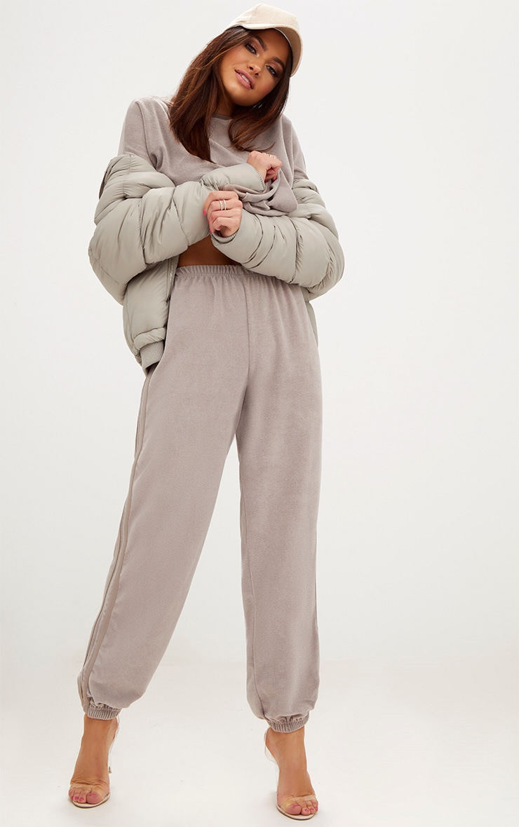 Taupe Velour Side Stripe Joggers  1