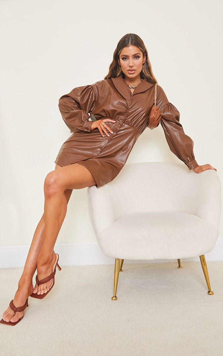Brown Croc Faux Leather Ruched Detail Balloon Sleeve Shirt Dress 3