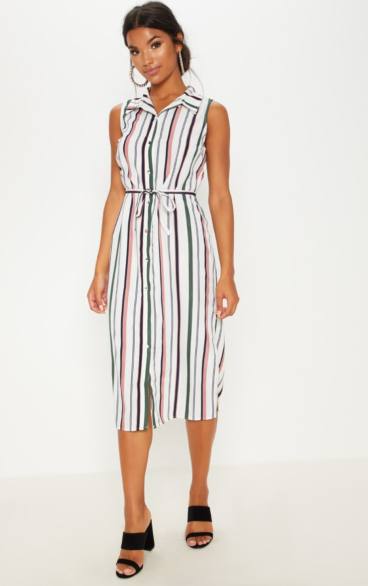 White Stripe Button Down Shirt Midi Dress 4