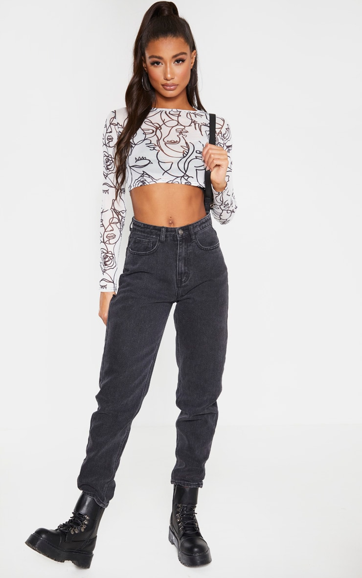 White Abstract Faces Printed Mesh Long Sleeve Crop Top 3