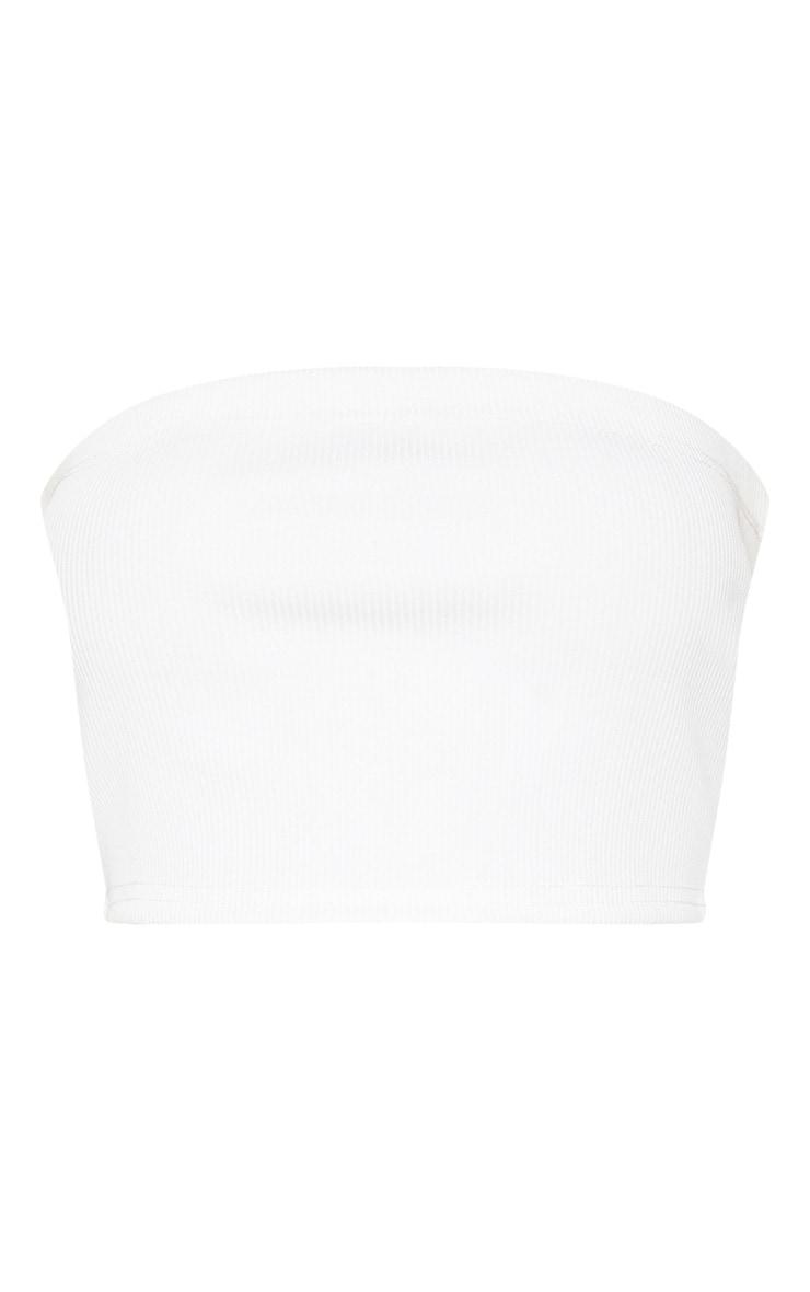 White Jumbo Rib Longline Bandeau Crop Top 3