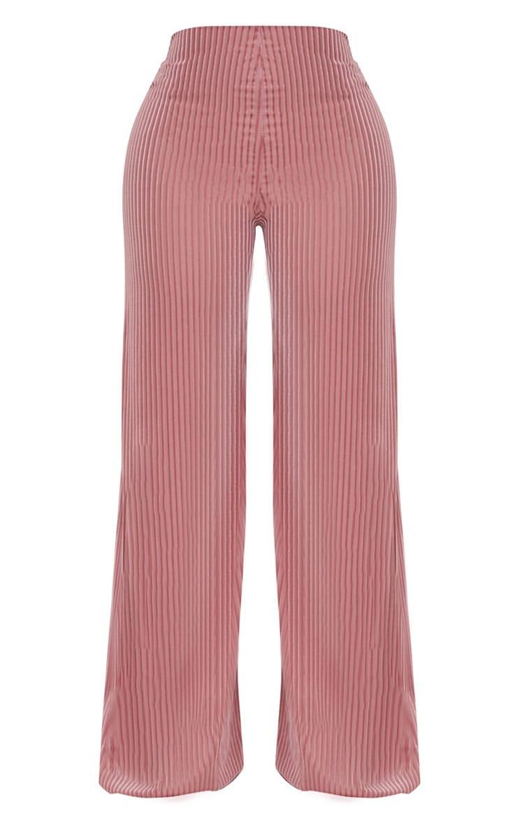 Shape Rose Striped Velvet Wide Leg Pants 3