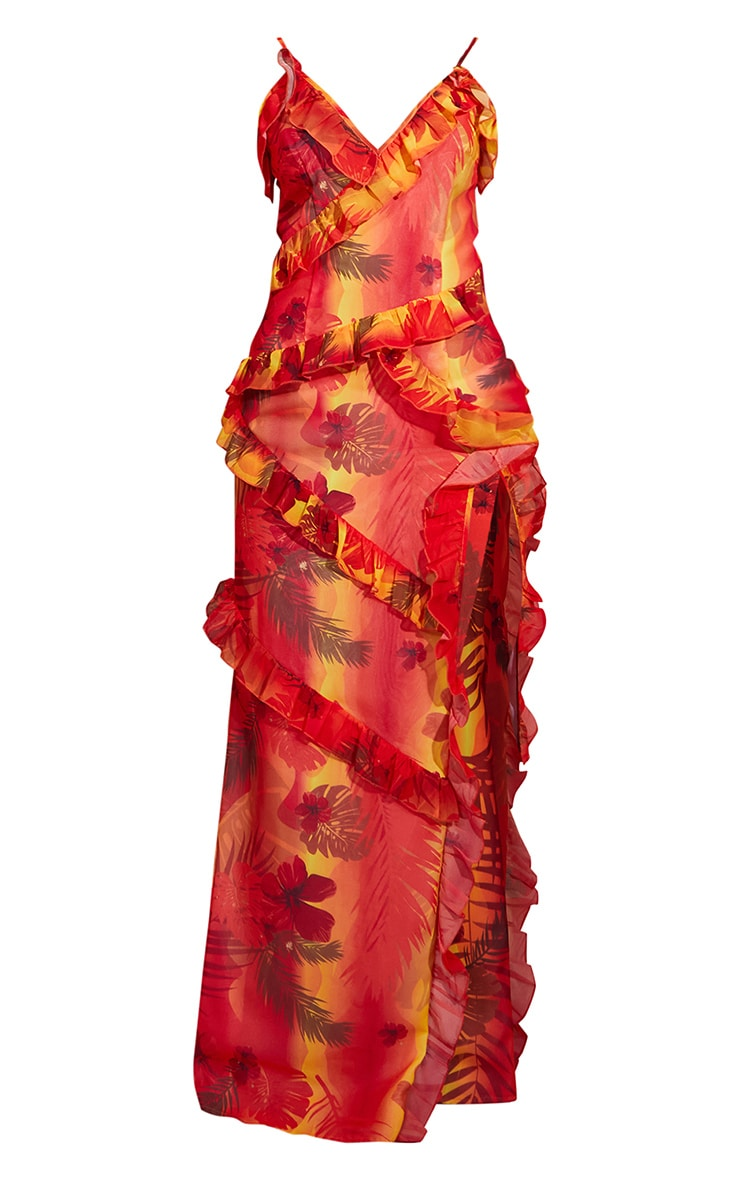 Red Tropical Print Strappy Ruffle Maxi Dress 5