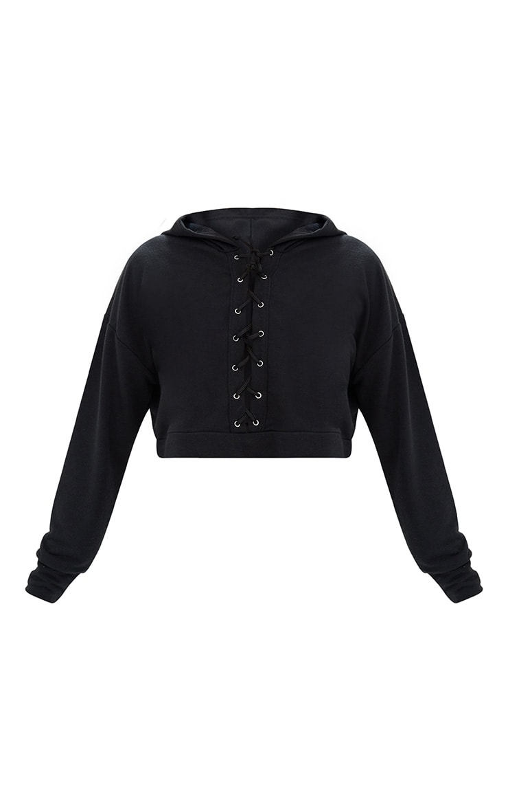 Black Lace Up Front Cropped Hoodie  3