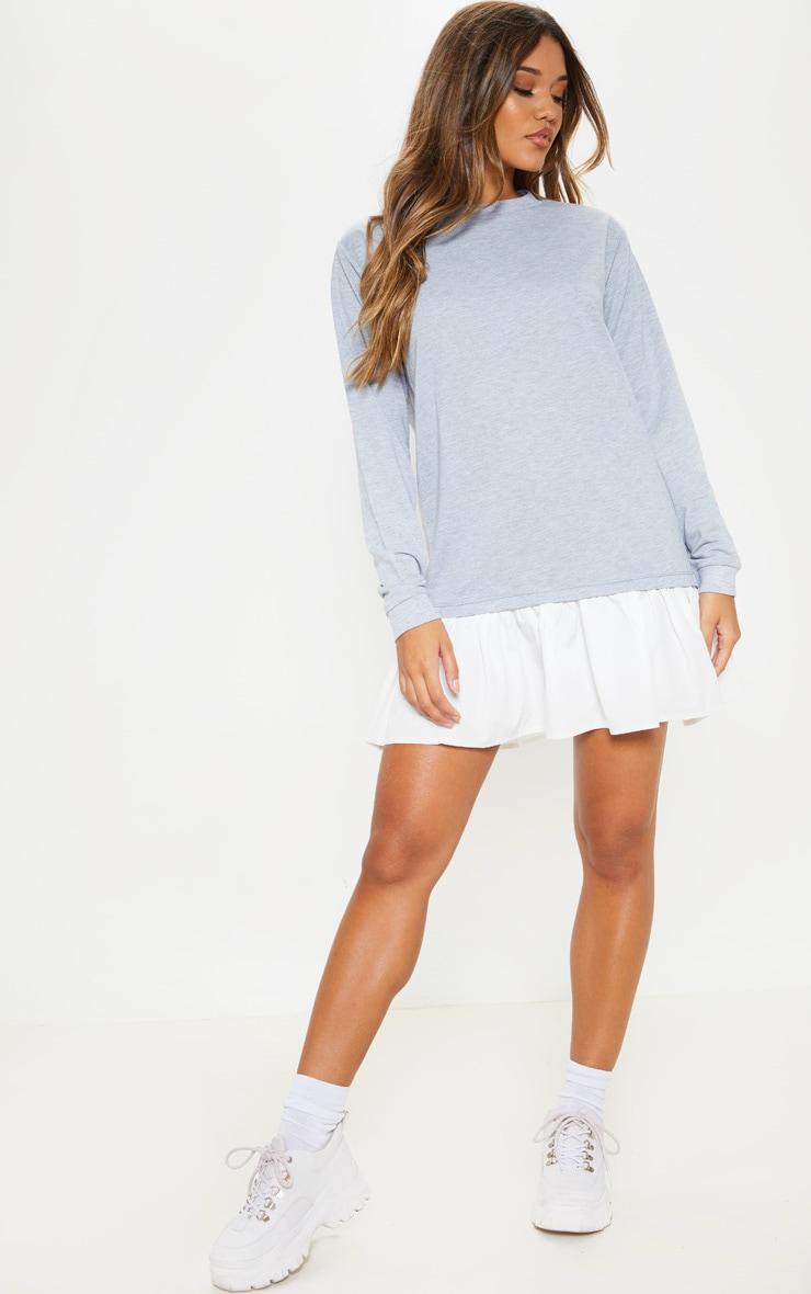 Grey Sweater Dress with Poplin Frill 4