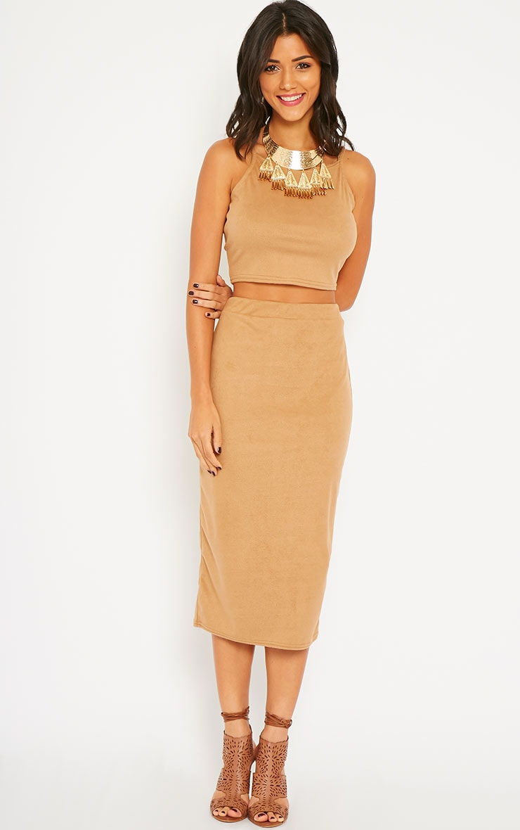Amanda Camel Suede Crop Top 3