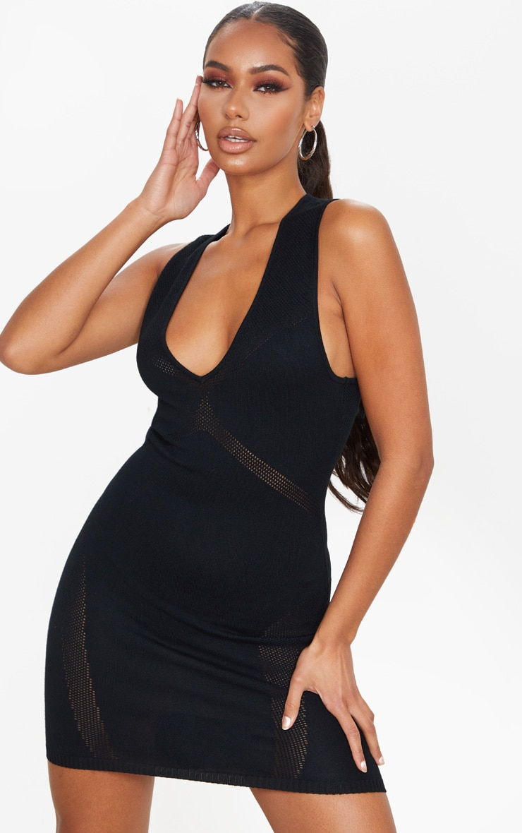 Black Cut Out Detail Knitted Bodycon Mini Dress 1