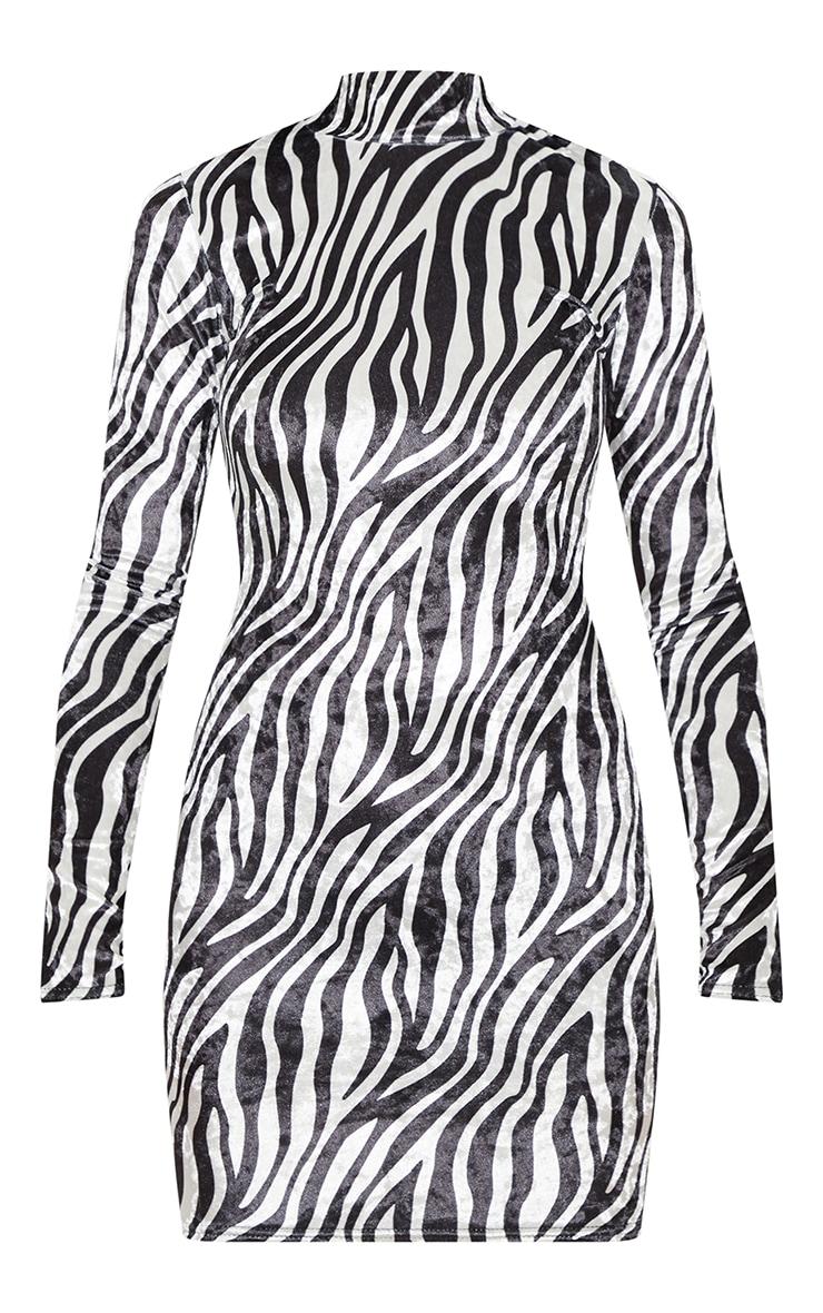 Monochrome Velvet Zebra Print High Neck Bodycon Dress 3