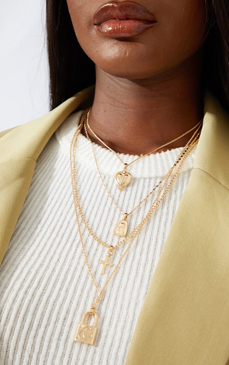 Gold Heart Cross And Padlock Assorted Necklace 1